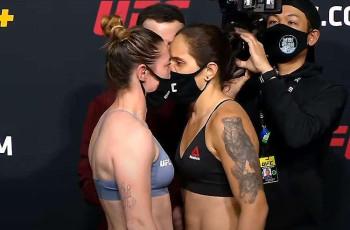 VEJA O VÍDEO: Brasileira e Inglesa  fazem encarada tensa na pesagem do UFC.